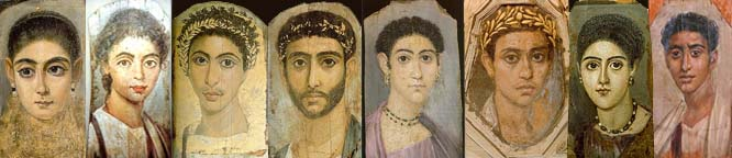 Romano- Egyptian Fayun mummy portrait encaustic panel paintings, 1st century BC