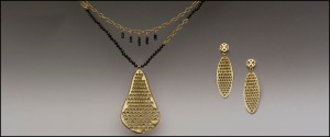 honeycomb necklace and earrings
